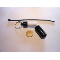 1 x Black Aluminium Micro Cache with Log Sheet and Cable Tie Hanger