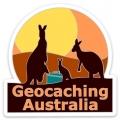 Geocaching Australia Sunset 'Roos Sticker (75mm x 75mm)